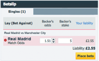 Betfair Lay Betslip